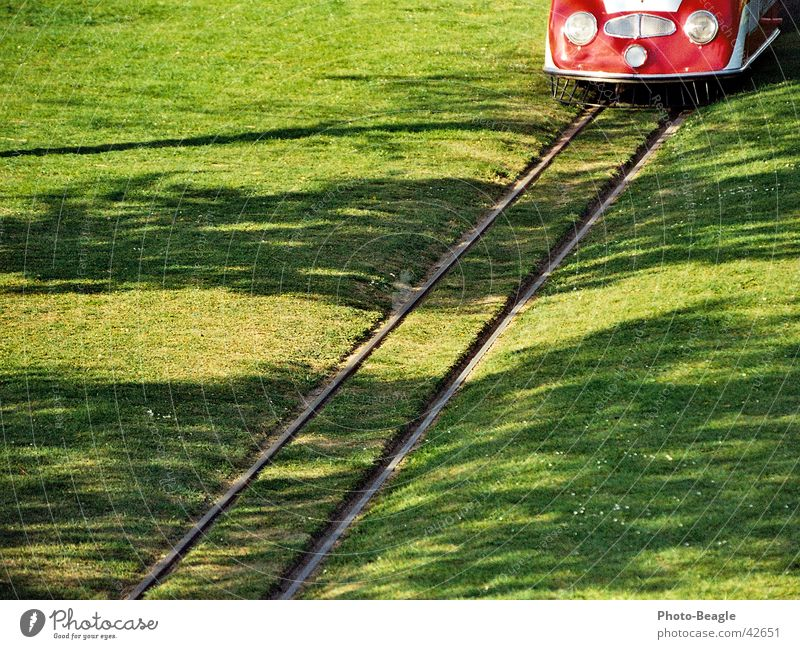national horticultural show Narrow-gauge railroad Green Railroad tracks Dortmund Cologne Exhibition Buga Porsche locomotive Built in 1958 Lilliput track Lawn