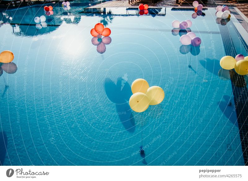 Balloons in a swimming pool balloons invitation Feasts & Celebrations Colour photo Joy Decoration Happiness Party Birthday Event Multicoloured