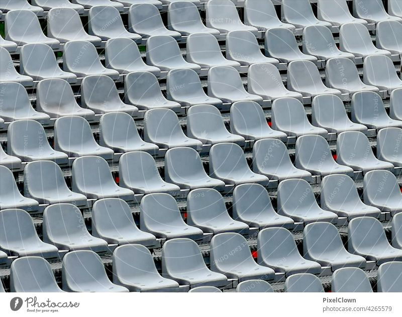 row of seats chairs - outdoor Deserted Colour photo Seating Empty Chair Row Seating capacity Row of chairs Row of seats stadium, football