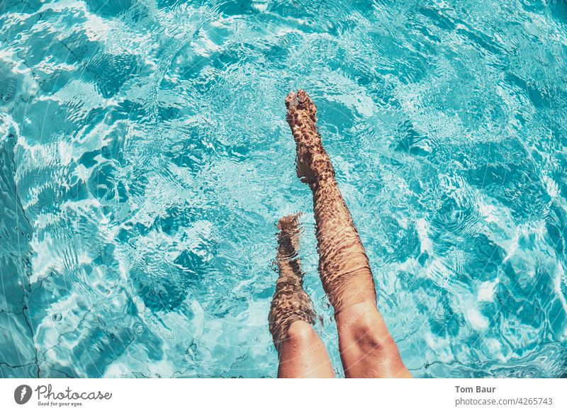 Women legs in the pool plantsch plantsch Women's legs Legs Woman Feminine Athletic Adults Colour photo Youth (Young adults) Young woman 18 - 30 years pretty Sit