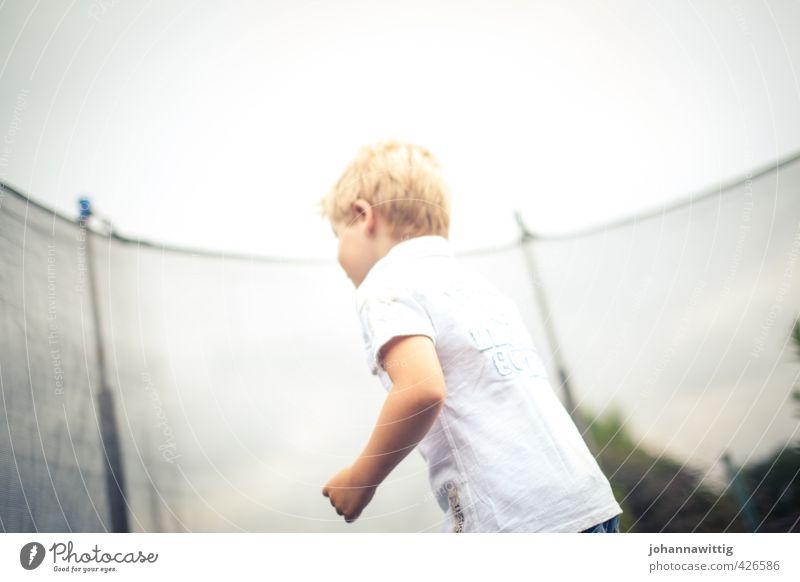 Weightless Boy (child) Infancy Back 1 Human being 3 - 8 years Child Cloudless sky Sun Sunlight Summer Garden Sports Romp Joy Fitness Leisure and hobbies Air
