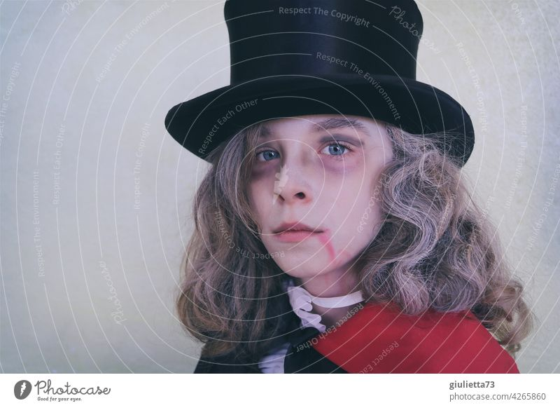 Dracula's son | boy in vampire costume for Halloween portrait Hallowe'en Son Boy (child) Carnival carnival Costume Carnival costume Dress up Long-haired Hat