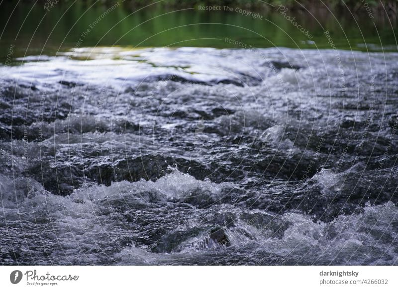 Rapids at a weir in the Sieg with agitated, splashing water River Water Waves Colour photo Environment Wet Reflection Nature Deserted Summer Elements Brook