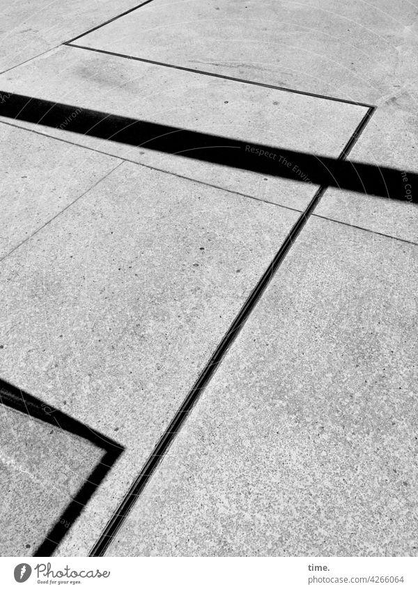 Line Relationships & Corner Ratios Traffic infrastructure Street Empty Lonely Gray Speed blurriness lines Stripe Shadow sunny Sidewalk Pattern Bird's-eye view