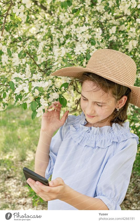 Cute beautiful smiling girl in a straw hat shoots content for social networks on a smartphone. Spring photo frame against the background of blooming apple trees. Happy child. Vertical shot