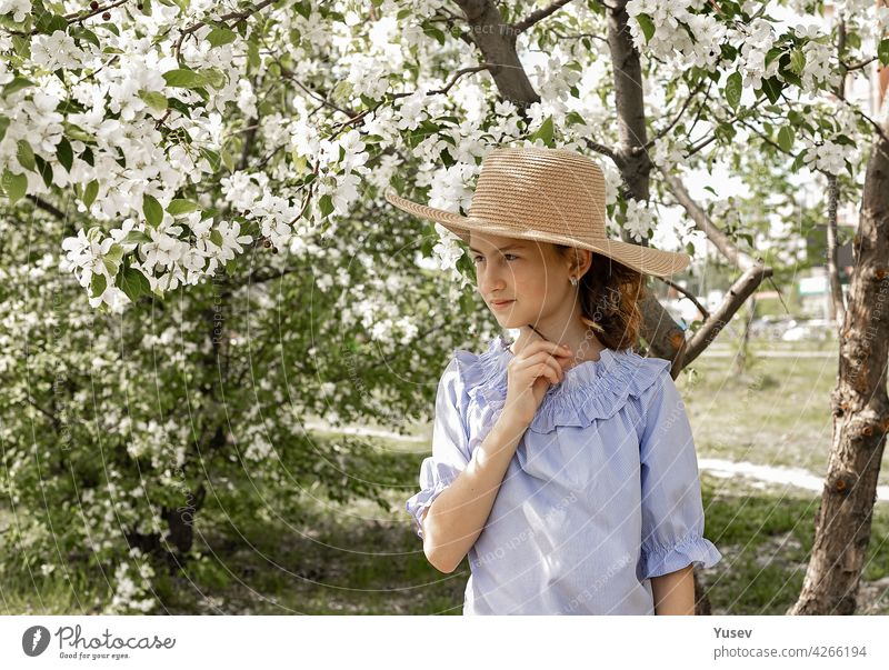 Portrait of a cute cute pensive girl in a straw hat in a blooming garden. Spring photo shot against the background of blooming apple trees. Happy child. Copy space
