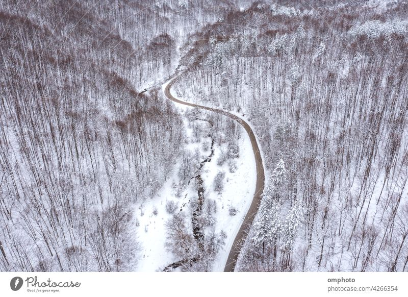 Curvy Winding Road and Mountain Stream winding road curvy stream meandering brook curved parallel aerial view forest drone tree landscape water cold frozen
