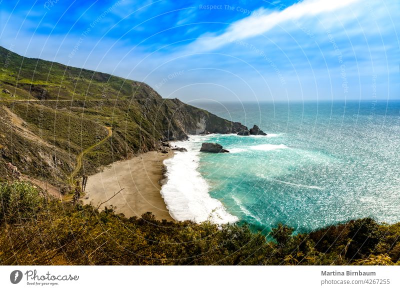 Panoramic view over the coast at Big Sur, California big sur rolling hills landscape blue water 1 dramatic landscape pacific coast highway panorama travel beach