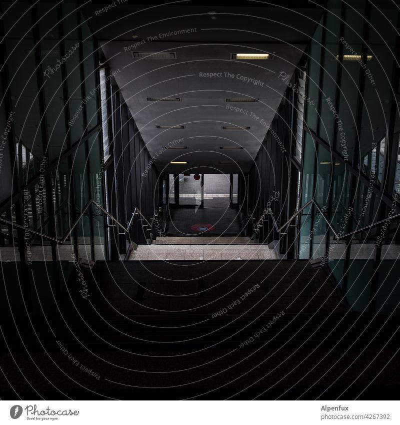 safe station Train station Dark Fear Dangerous Tunnel Neon light Underpass Panic Threat Light Loneliness Empty Tunnel vision Lighting Lanes & trails