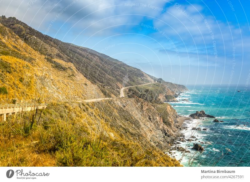 Empty Pacific Highway 1 in California on a spring day, Big Sur california state route 1 pacific pacific coast highway road highway 101 empty landscape travel