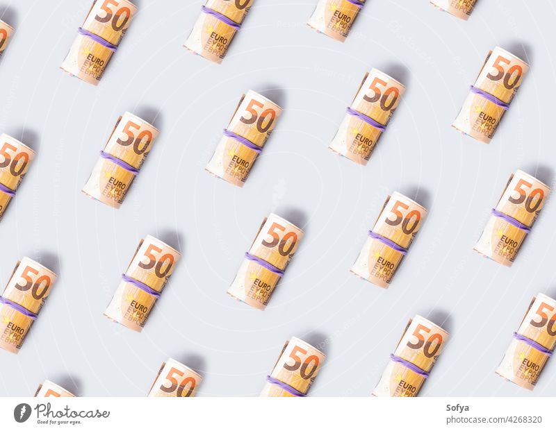 Euro 50 value banknotes roll pattern on gray background euro money cash pay 50 euro savings investment income rubber cost exchange economy tax currency