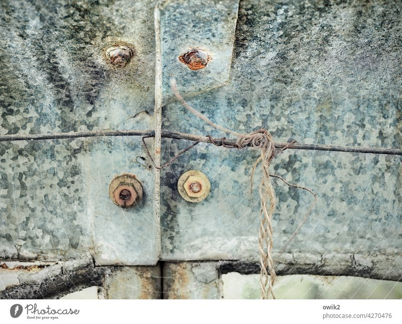 Screw piece Metal Old Abstract Rough Arrangement Structures and shapes Copy Space top Copy Space bottom Detail Gloomy Trashy Colour photo Firm Copy Space left