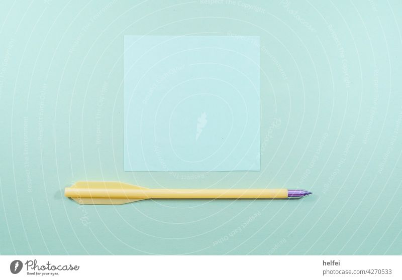Colored paper with strong texture and a white note and a yellow arrow Paper notitz White Empty Blank background Clue Office Education School Colour photo Pencil