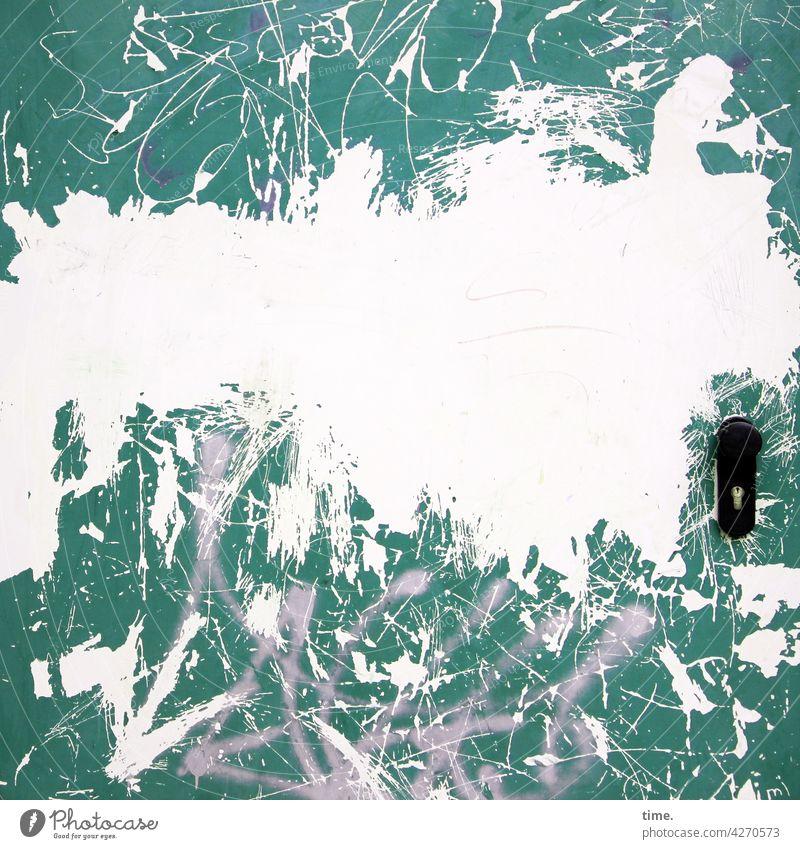Entrees (43) door Metal Pattern structure lines door handle graffiti Shabby Trashy Broken damaged Scuffed worn Green bare