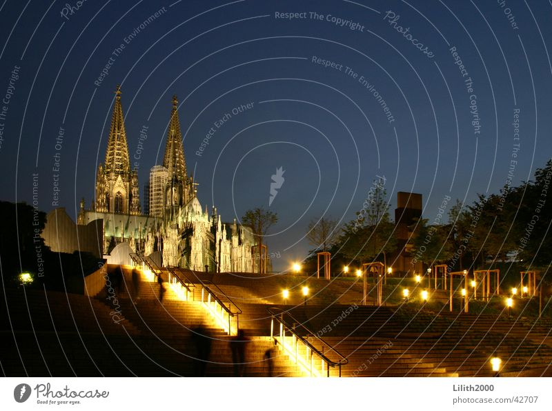 Our beautiful cathedral Cologne Rhine House of worship Dome Night Summer Sky Lighting Stairs Handrail