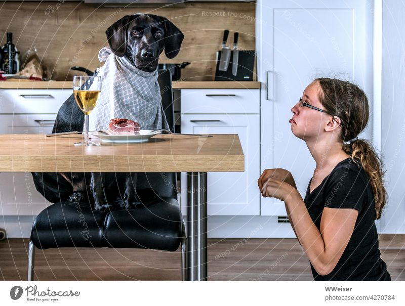 Or rather: Dog and mistress have swapped roles today... Child Girl Eating Table Lunch role swap Exchange reverse game Roleplay Possessions Gentleman Hierarchy