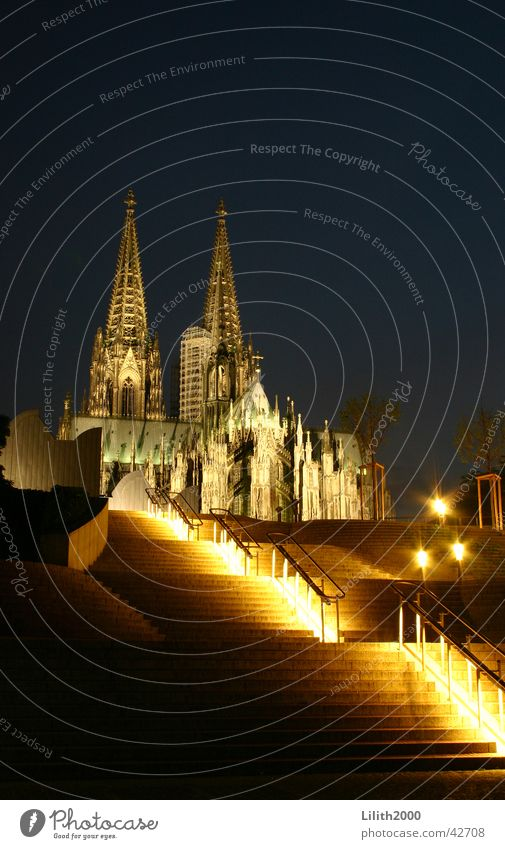 At night at Dom 2 Cologne Night Summer House of worship Dome Lighting Handrail Stairs