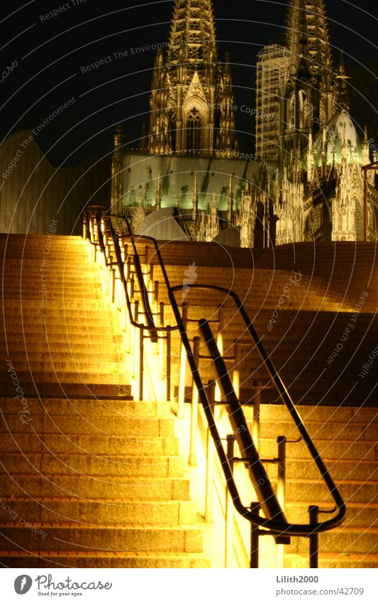 At night at the cathedral Cologne Night Summer House of worship Dome Stairs Lighting Handrail