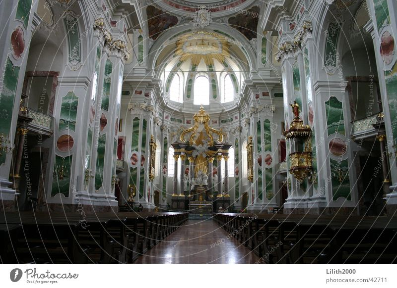 Jesuit Church in Mannheim Domed roof Altar Bench House of worship Jesuit church Electoral Palatinate Religion and faith