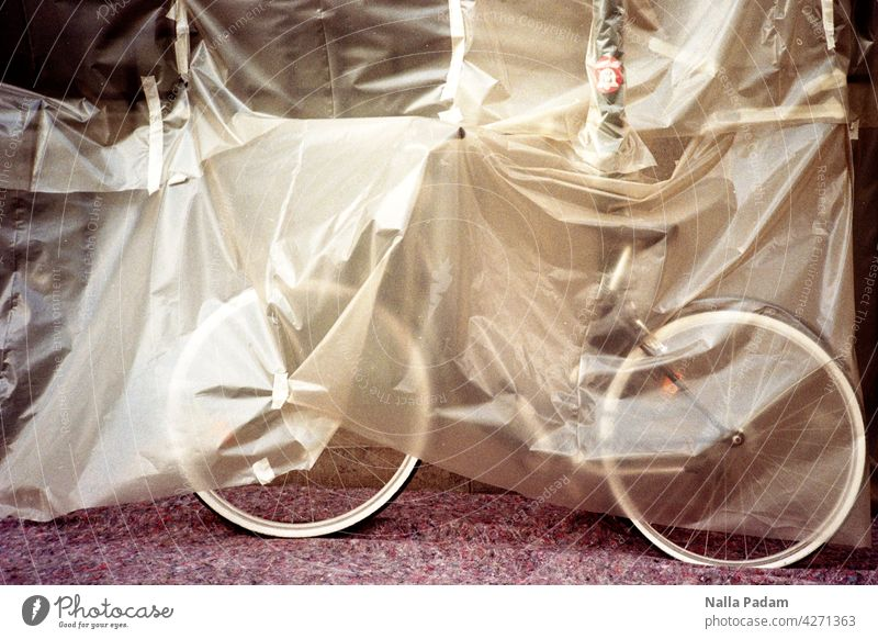 More bicycle parking spaces Analog Analogue photo Colour Street tarpaulin Bicycle Scaffolding Construction site shelter Parking space Parking lot Bike bikes