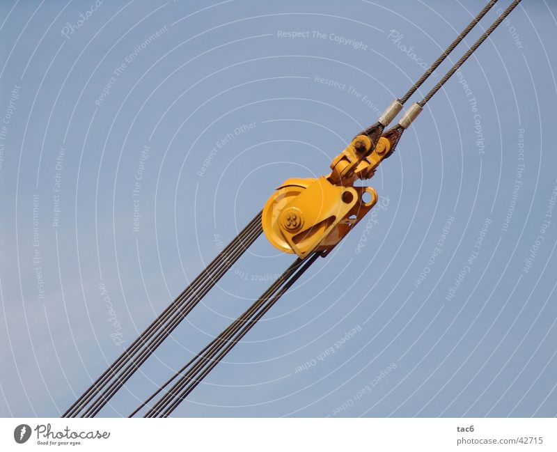 steel cables Steel Coil Yellow Things Wire cable Blue Sky Construction site