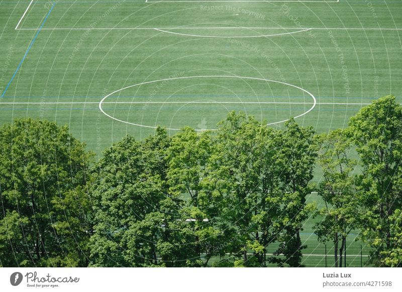 green from above, a deserted football field. In front of it old trees, above all sunshine Green Direct lines Foot ball soccer field Lawn Sporting grounds Bright