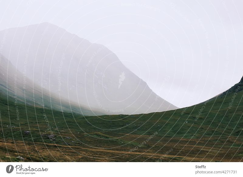 mystical worlds Scotland Scottish countryside Fog mountains Hill Mystic silent tranquillity Shroud of fog Misty atmosphere Loneliness mysticism mystery Calm