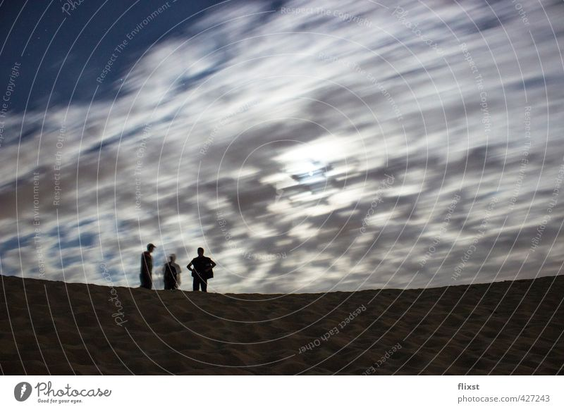 Human being Sky Summer Sand Stand Dune Moon Nerviness Clouds in the sky