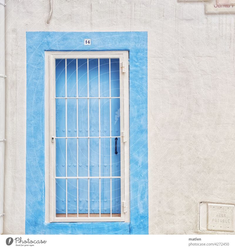 pearly gates door Grating Wall (barrier) White Blue Door opener Downpipe fourteen