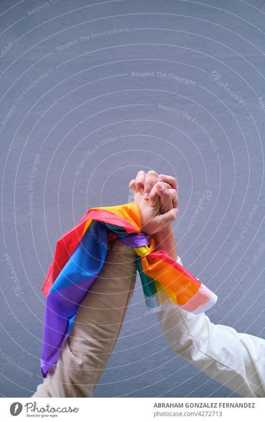 hands of LGBT men holding up the rainbow flag pride freedom symbol gay love lesbian transgender color homosexual colorful close up homosexuality bisexual