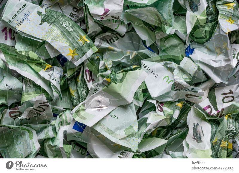 crumpled money - all 100 Euro notes Money crumpled up Bank note Loose change corruption Avaricious Income Paying Financial Industry Banknote finance Euro symbol