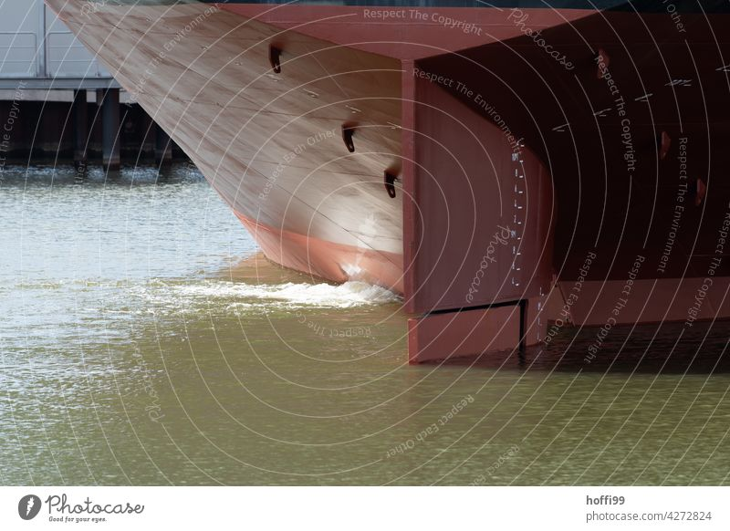 Detail of a stern from a very large ship tankers Container ship Navigation Water Maritime Oil tanker Watercraft Port City Logistics Machinery Bremen River