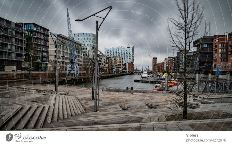 Hafencity Hamburg Stairs Office building Reflection Contrast Clouds Exterior shot Light Shadow Modern Hip & trendy Discover Facade High-rise Park