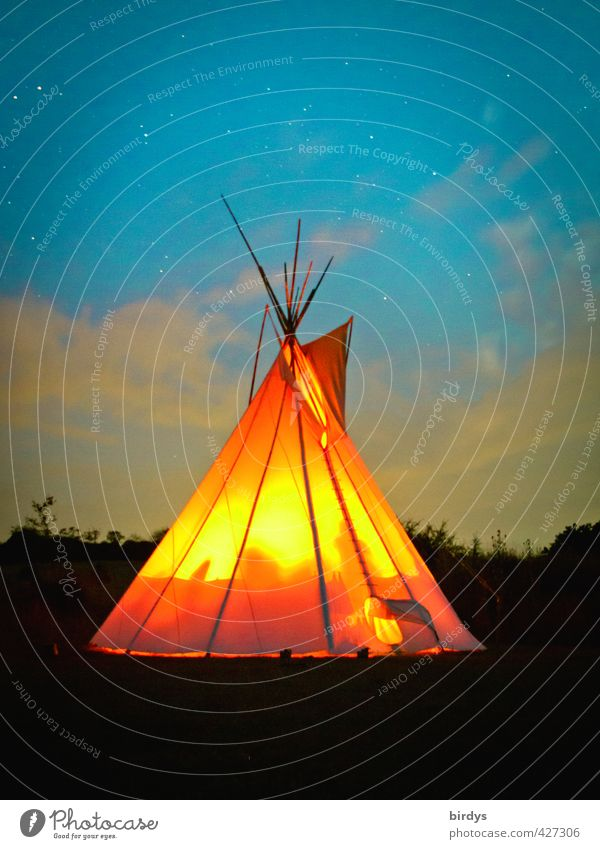 lightning tipi Adventure Freedom Tee Pee Nature Night sky Stars Summer Illuminate Living or residing Esthetic Exceptional Exotic Kitsch Positive Blue Orange