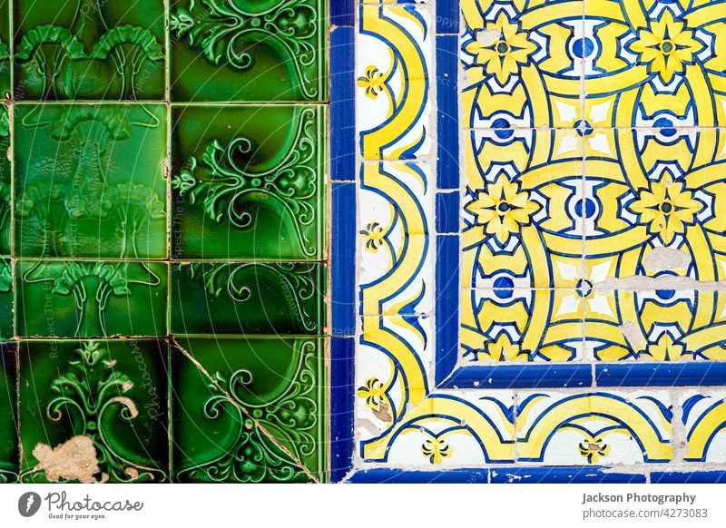 Close up of two types of typical Portuguese tiles, Olhao, Algarve portugal azulejo pattern detail decorative algarve architecture azulejos close up building