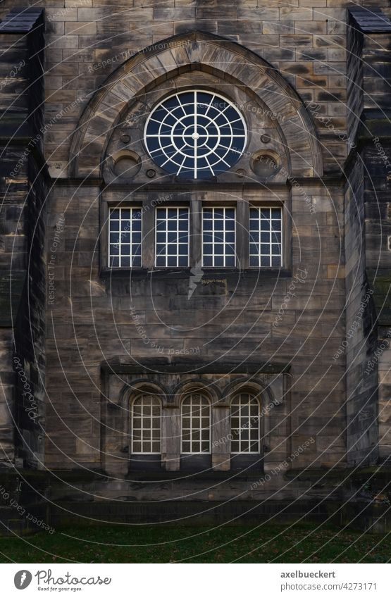 gloomy church facade with windows Church Church window Religion and faith Window Belief House of worship Historic Architecture Christianity Manmade structures