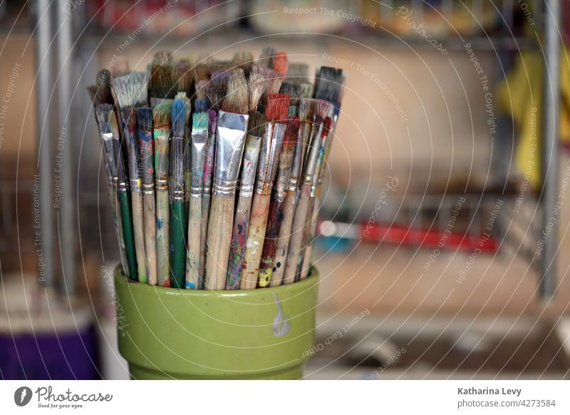 Brushes in an art workshop Paintbrush colors Art Workshop Bristles Painter Artist artistic needs Acrylic Acrylic painting Atelier Creativity Leisure and hobbies