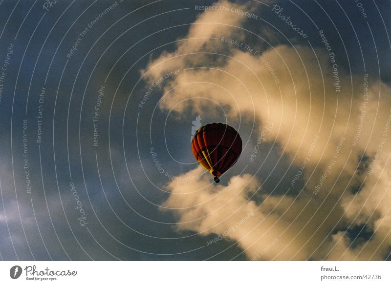 Balloon in the clouds Hot Air Balloon Clouds Glide Sky Aviation Evening Rain Sun Vacation & Travel