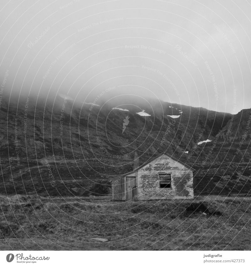 Iceland Environment Nature Landscape Clouds Climate Fog Rock Mountain Westfjord House (Residential Structure) Hut Building Old Dark Creepy Small Moody