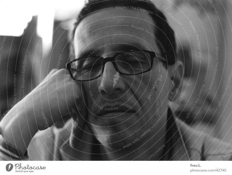 Man Hand Face Sadness Wait Sleep Grief Gloomy Eyeglasses Gastronomy Café Fatigue Boredom Earnest Doze Sidewalk café