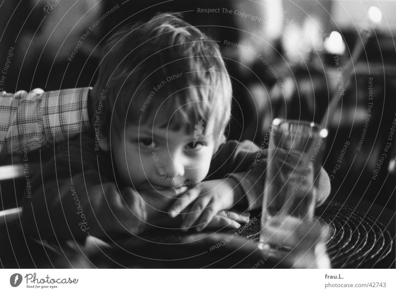 Leon in the restaurant Safety (feeling of) Child Restaurant Blur Hand Portrait photograph Inn Gastronomy Trust 4 years Boy (child) Glass Laughter Arm Face