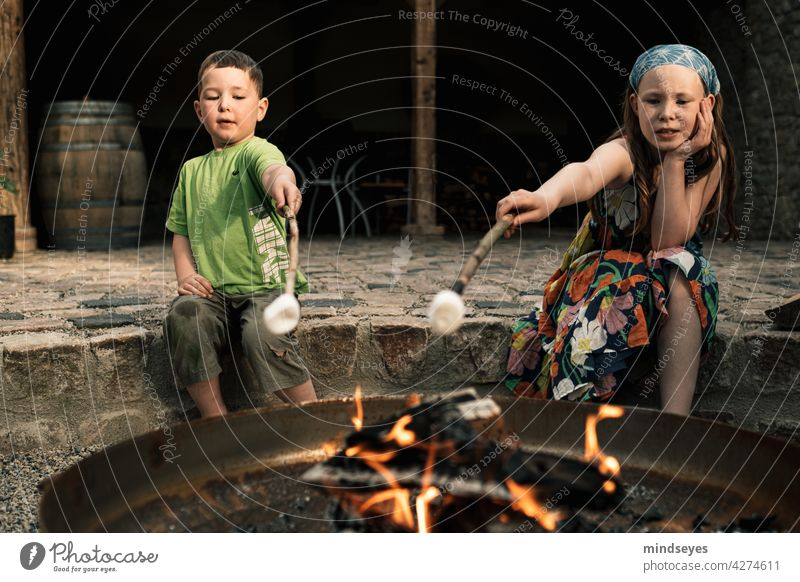 Two kids grilling marshmallows old barn Fireplace Lagergeuer BBQ toast Infancy Lifestyle Tension Playing nibble Candy sweets Joy fun relaxation Colour photo