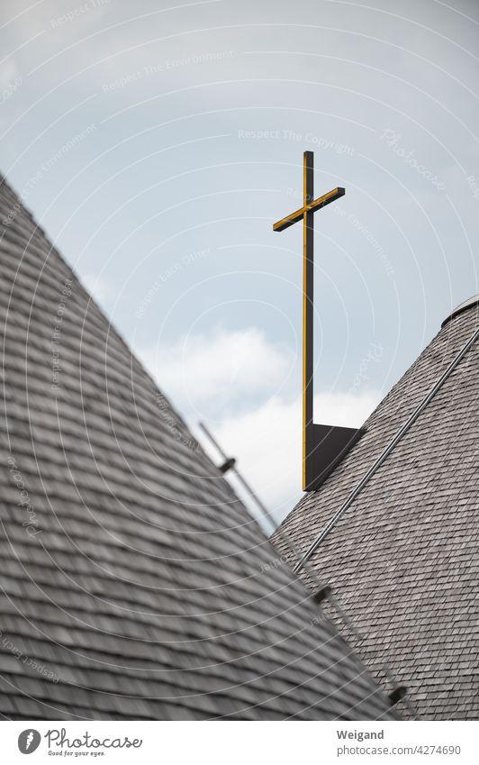 Cross on church Church Belief Catholic Protestant Sky Spirituality Christianity Appeal pray Prayer