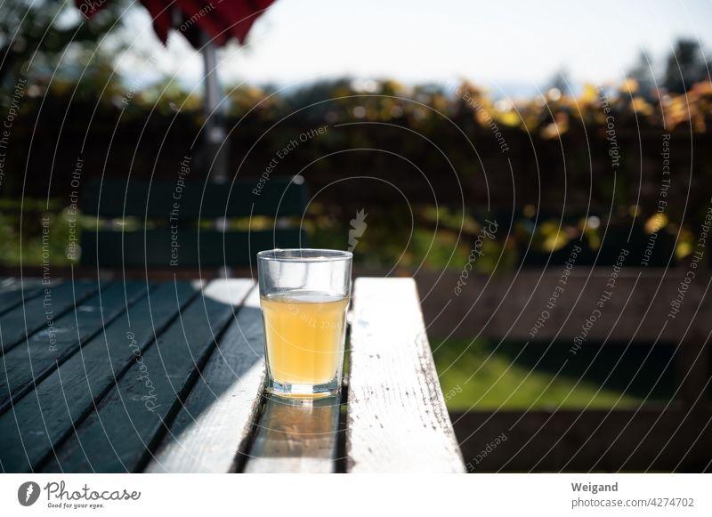 Glass with apple juice on the terrace Summer Juice organic Drinking Beverage Apple juice Slow food Terrace Bavaria Break Cold drink freshness