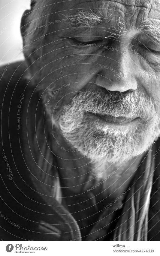 Finding inner peace Man Senior citizen Face portrait White-haired Facial hair bearded Beard find peace meditate tranquillity tired Fatigue Pain Memory believe
