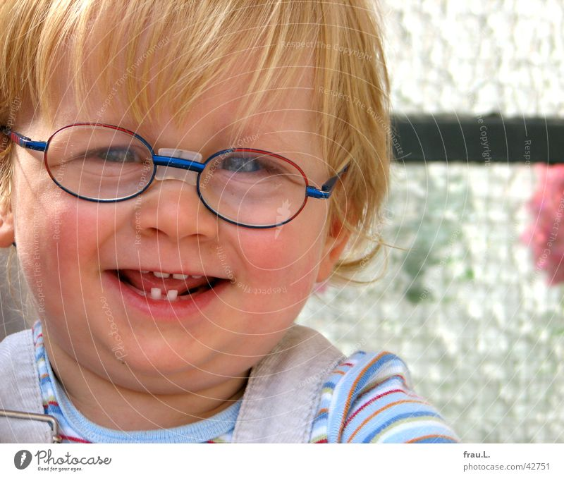 Claas Joy Happy Face Contentment Child Human being Masculine Toddler Boy (child) Teeth Beautiful weather Balcony Eyeglasses Blonde Laughter Happiness Sweet