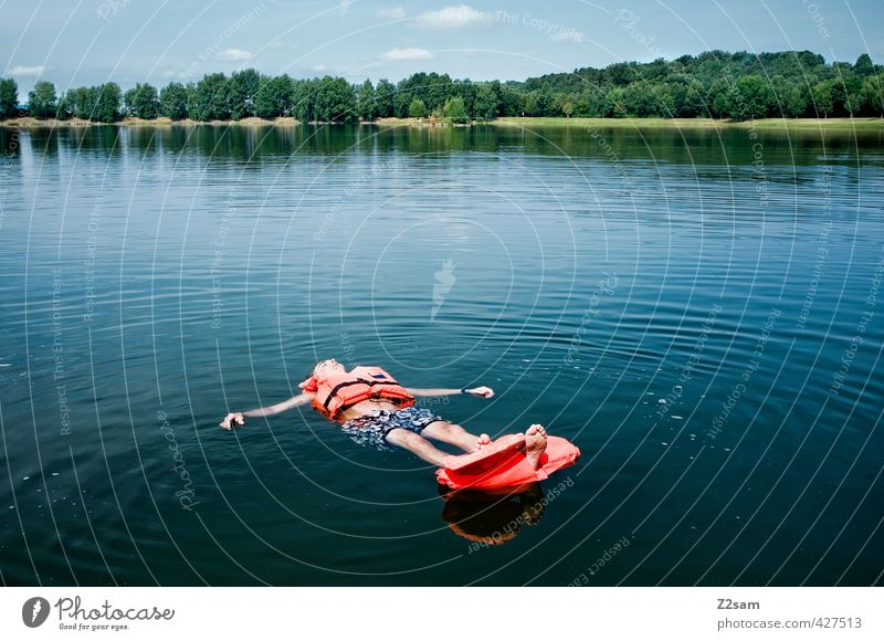 No rescue in sight! Vacation & Travel Adventure Freedom Summer vacation Masculine Young man Youth (Young adults) 18 - 30 years Adults Nature Landscape Water Sky