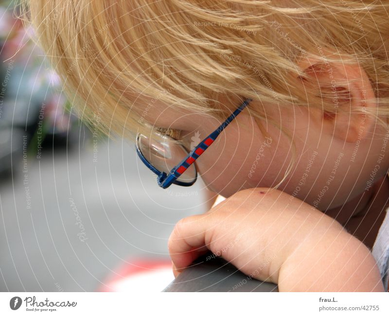 Human being Child Hand Face Street Boy (child) Blonde Eyeglasses Ear Observe Curiosity Concentrate Balcony Toddler