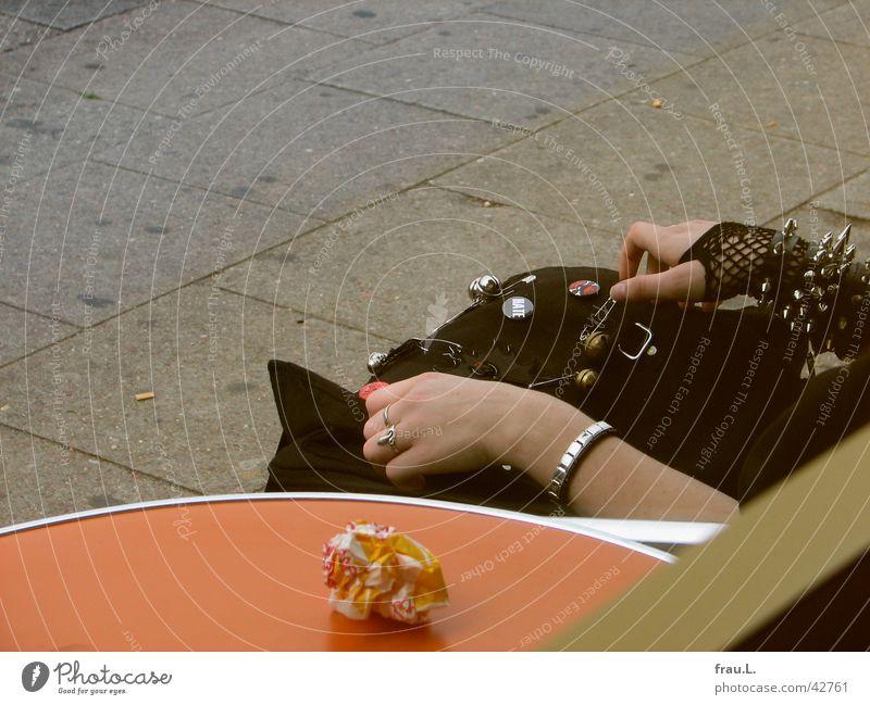 Girls Hands Bracelet Bag Woman Gloves Table Window Clothing Gastronomy bun bag Table edge Tabletop