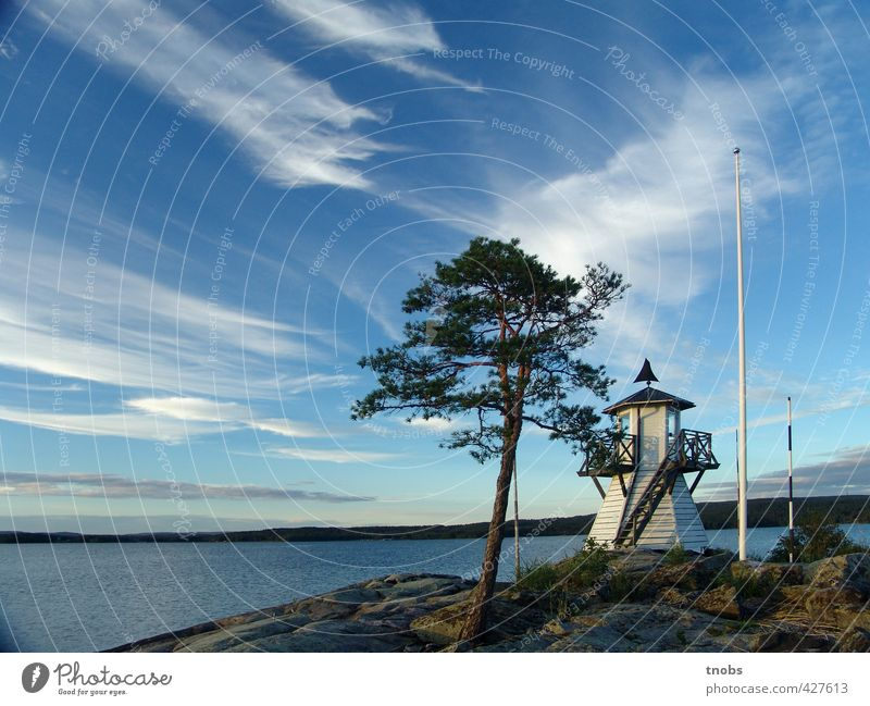 Swedish lighthouse Sky Nature Vacation & Travel Water Summer Tree Relaxation Landscape Clouds Environment Coast Freedom Rock Horizon Air Power